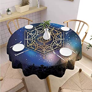 """DILITECK Sacred Geometry Indoor and Outdoor Polyester Round Tablecloth Hexagon Form with The Eye Icon in The Centre on Starry Night Mystic Image Round Table Diameter 50"""" Multicolor"""
