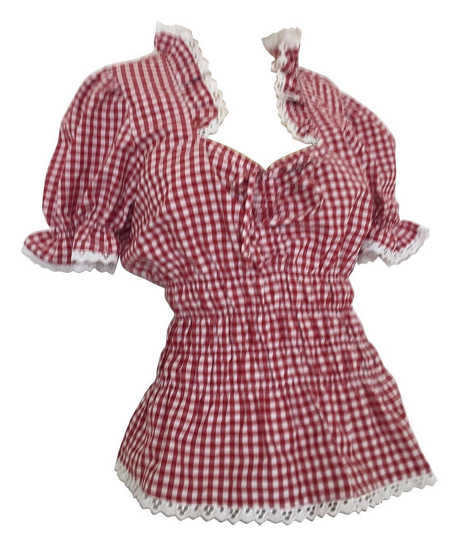 Trachtenblusen Blusen Damen Tuniken Mieder Corsagen Shirt Volant Rüschen Freizeit Business Hochzeit Rot Weiß Karo