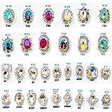 30PCS/2Packs 3D Luxury Clear Colored Shining Diamond Rhinestone Alloy Nail Art Decorations Charming Fashionable DIY Distinctive Nail Art Work