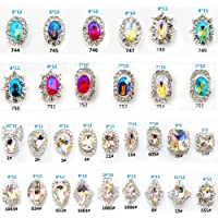 Niome 30PCS/2Packs 3D Luxury Clear Colored Shining Diamond Rhinestone Alloy Nail Art Decorations Charming Fashionable DIY Distinctive Nail Art Work