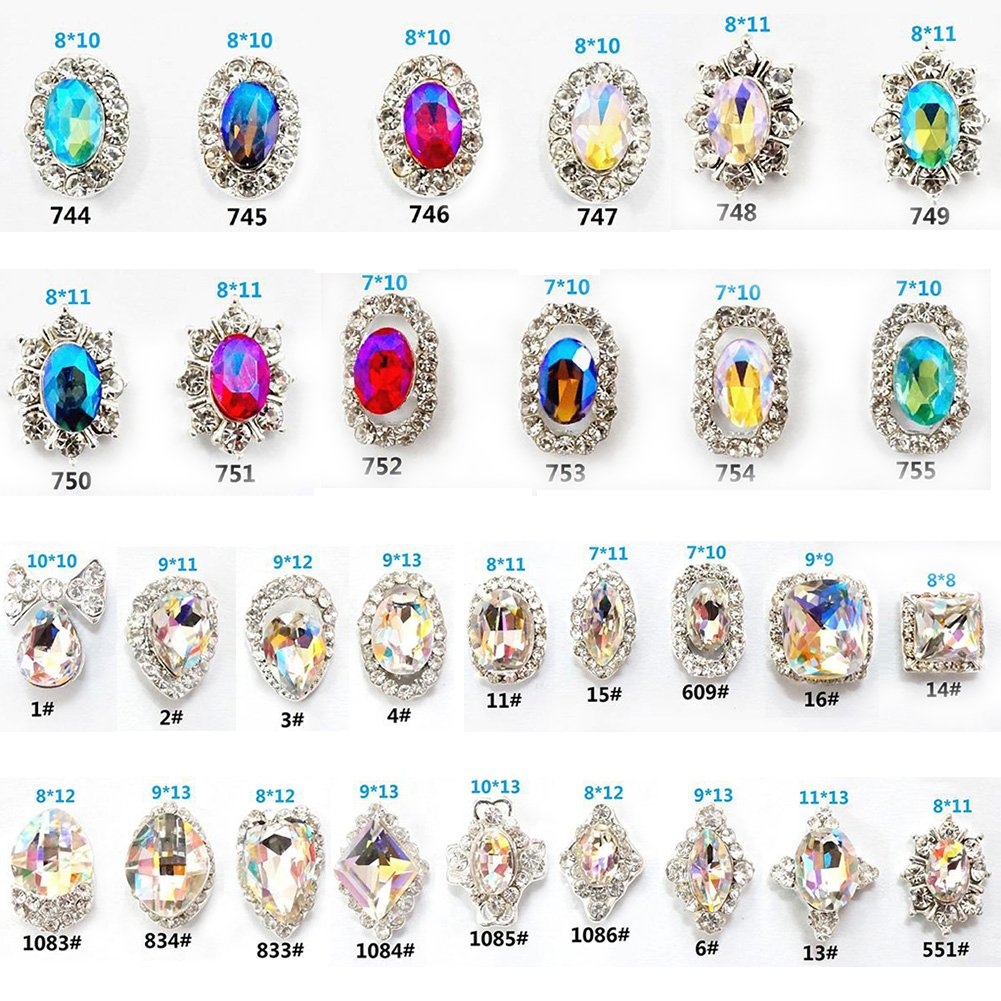 30Pcs 3D Luxury Nail Art Rhinestones and Charms Large Crystals Diamonds Gems Stones for DIY Nail Art Work Design Decoration Craft Jewelry Making