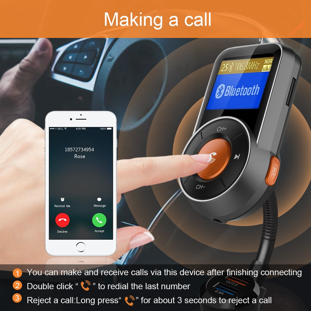 Bluetooth FM Transmitter, FKANT Auto-Scan Bluetooth 4.2 Wireless Radio Audio Adapter Receiver Car Kit MP3 Player, Hands-free, QC3.0/2.4A Dual USB Ports, AUX Input/Output,1.44'' Display, TF Card by FKANT (Image #5)
