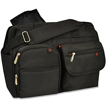 09d213f078db Amazon.com   Fisher-Price Fastfinder Deluxe Wide Opening Diaper Bag - Black    Diaper Tote Bags   Baby