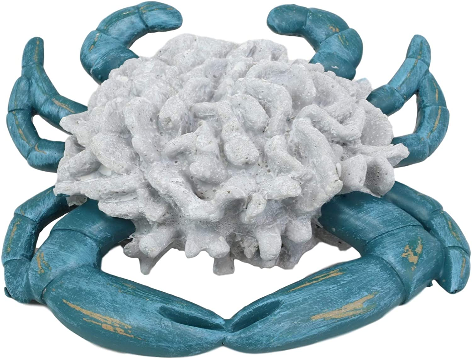Silver Coloured Hand Painted Finish Crab Sea Resin Ornament Home Decor Figurine