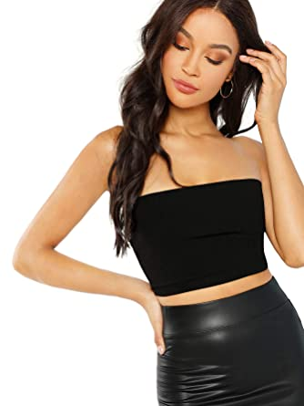 29762314e5ccb0 MAKEMECHIC Women's Strapless Sexy Tube Bandeau Top Back Lace Up Crop Top  Black XS