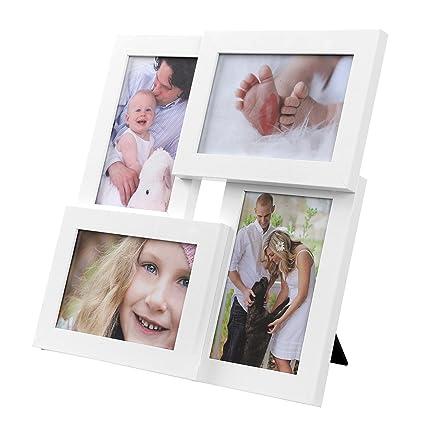 SONGMICS Collage de 4 Marcos para Fotos DE 10 x 15 cm, Portafotos de Madera