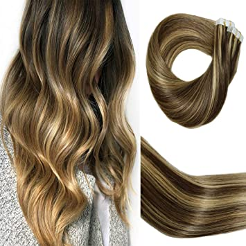 Big Sale Huayi Tape In Hair Extensions Dark Brown Ombre Blonde Highlights Human Hair 50g 20pcs Tape