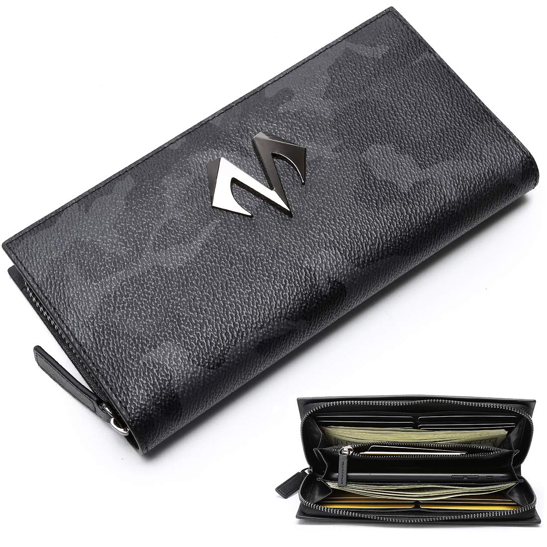 12a9776179a0 Babama Mens Zip Wallets Camo Leather Zip Around Bifold Long Wallet with  Coin Breast Pocket Fashionable Waterproof Purse for Boy at Amazon Men s  Clothing ...