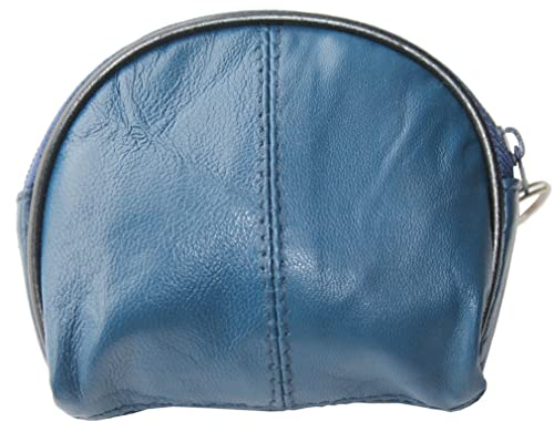 cb5bb98c3 Visnow Natural Genuine Leather Coin Purse Change Purse Wallet with Key Ring  (Blue)