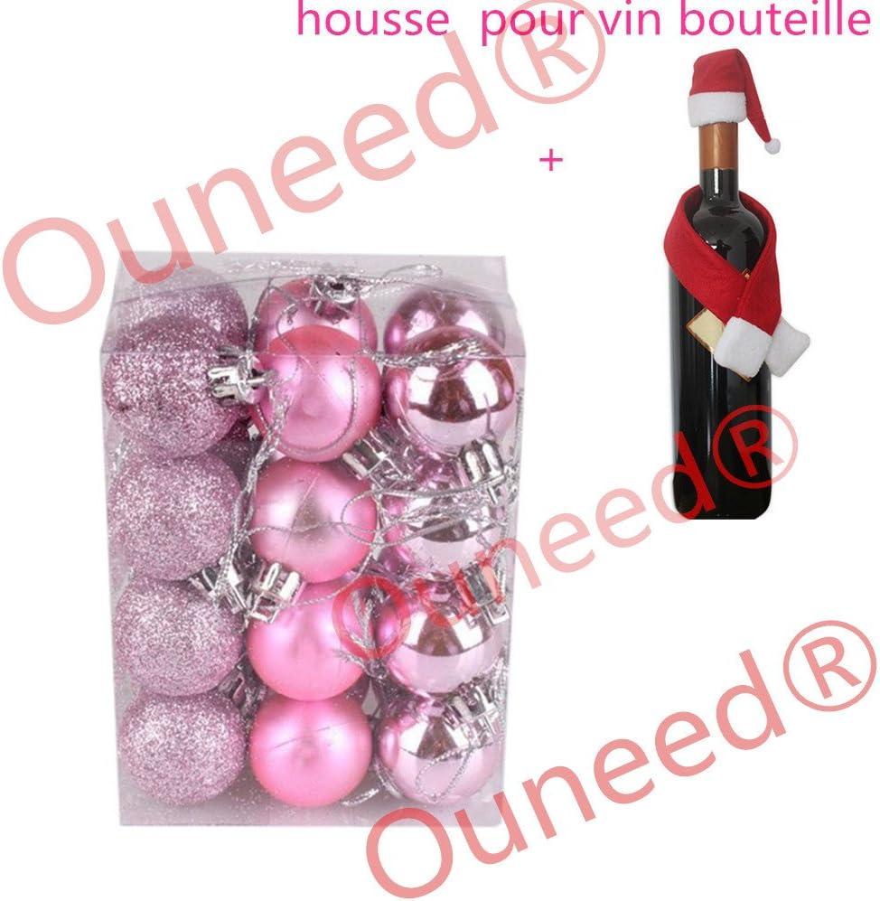 Boule de Noel Sapin de Noel Boules 3cm 24pcs Ambiance Decoration Noel Rouge