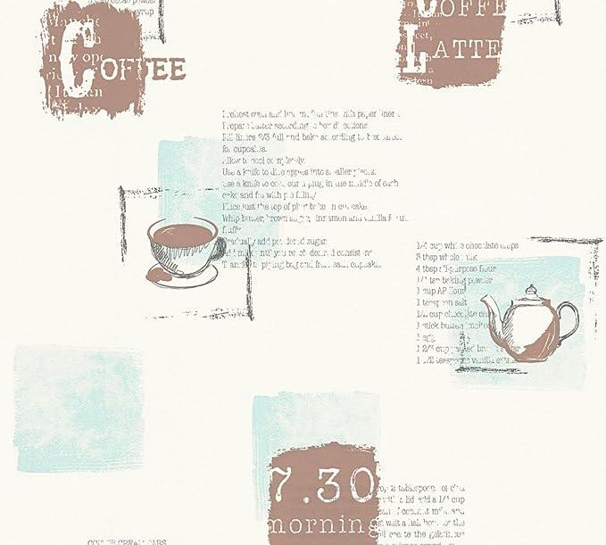Coffee Cup Wallpaper Beige Brown Typography Script Kitchen Washable Vinyl