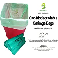 NaturePac Garbage Bags Biodegradable For Kitchen,Office,Small Size (43cmx51cm),Green (180 Bag).