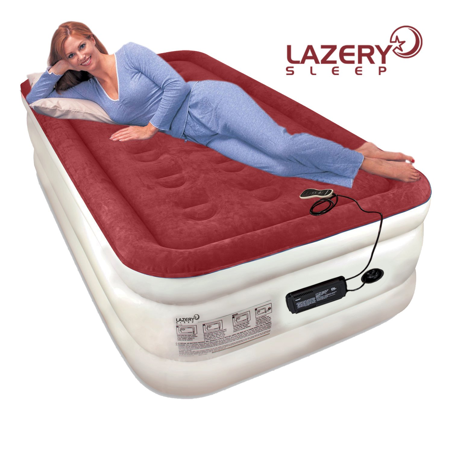 "Lazery Sleep Air Mattress Airbed with Built-in Electric 7 Settings Remote LED Pump - Twin 74"" x 39"" x 19"""