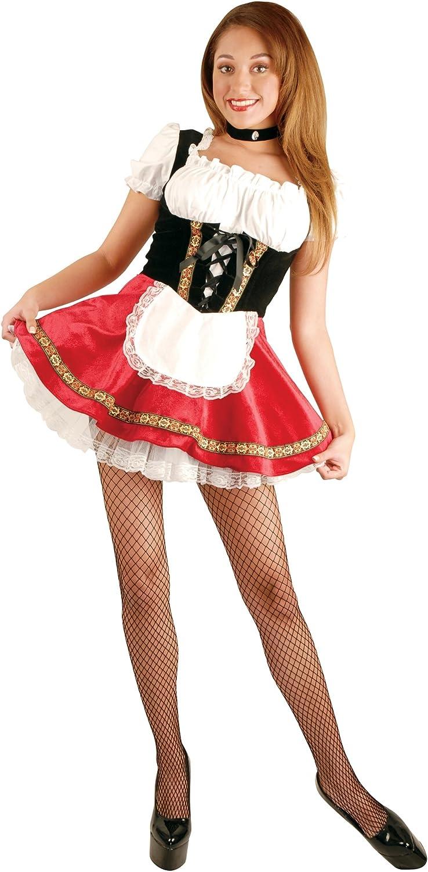 Charades Women's Deluxe Beer Garden Girl Costume Dress with Petticoat
