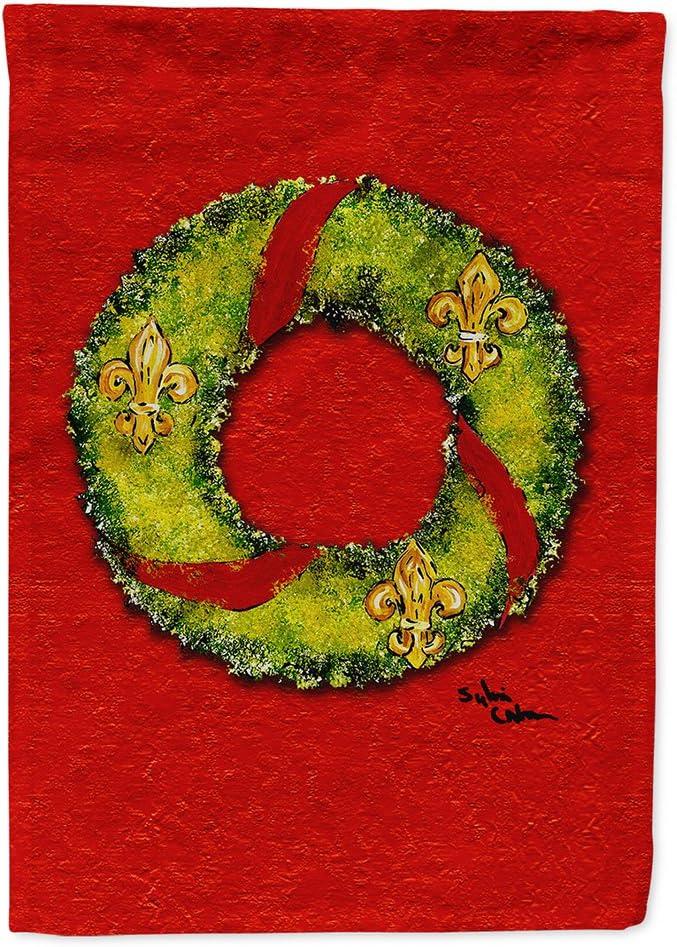 Caroline's Treasures 8503GF Christmas Wreath Fleur de lis Flag Garden Size, Small, Multicolor