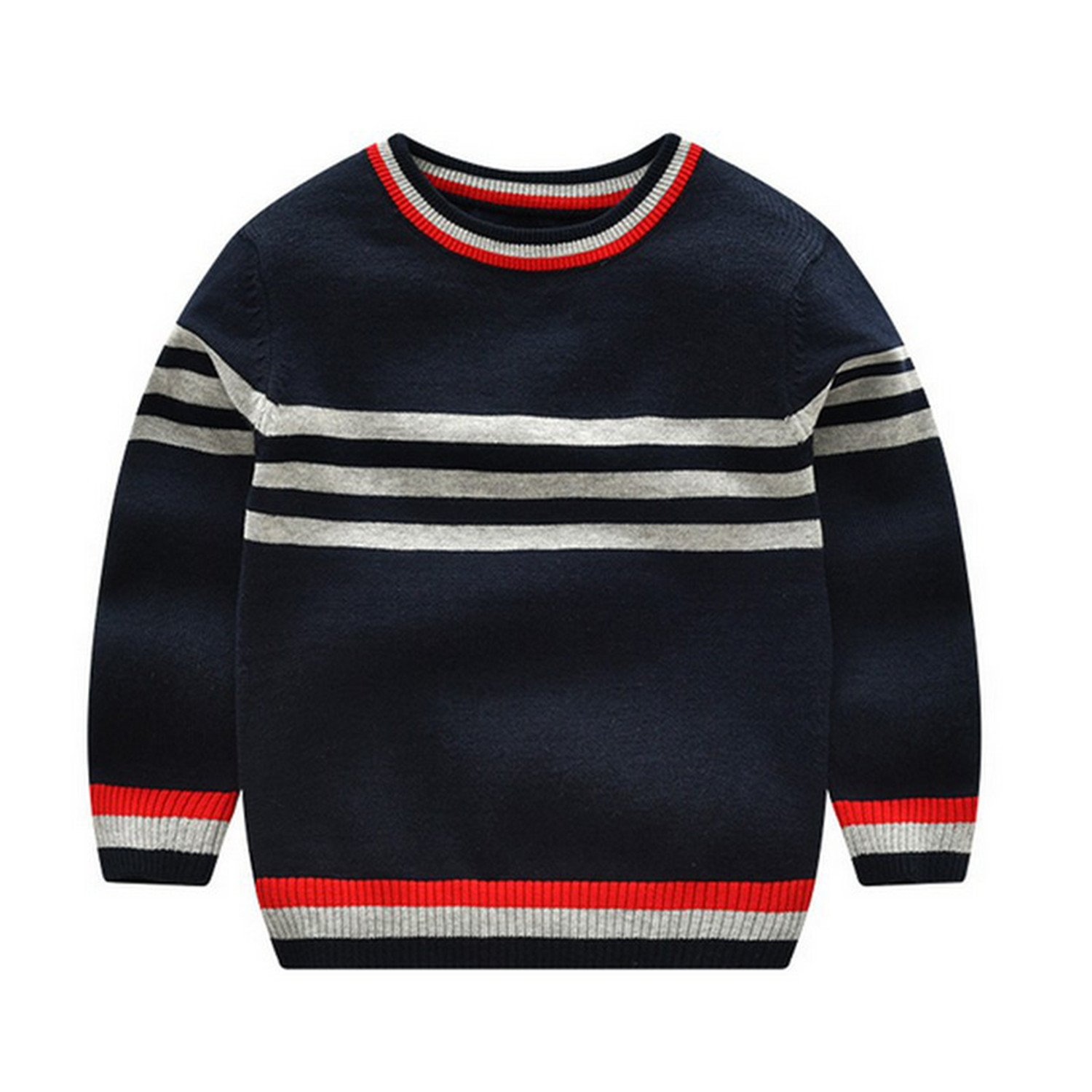 Rick Rogers 3-7Y Stripe Warm Baby Sweater Solid Color Cotton Boys Sweaters Soft Breathable Pollover Knitted Tops