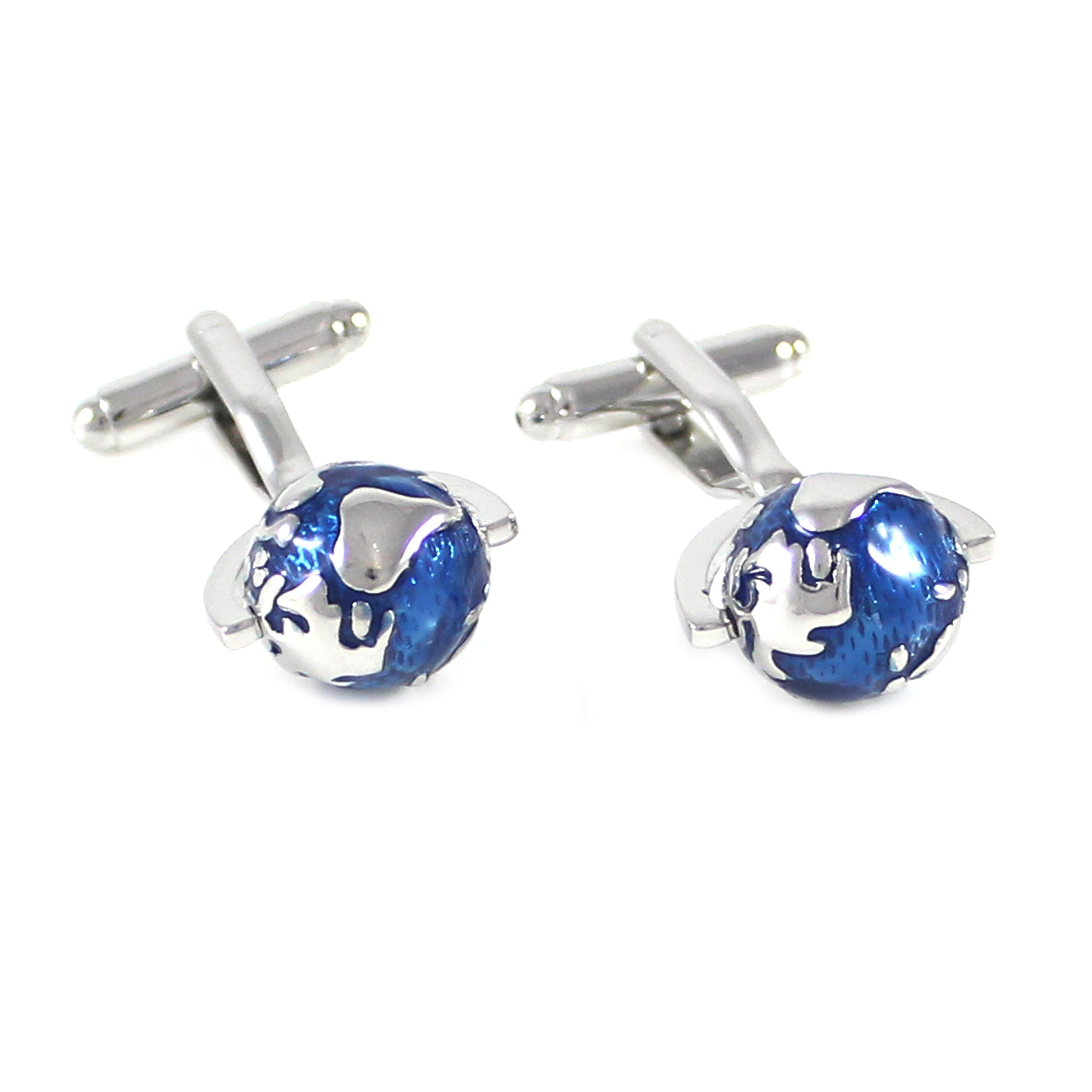 MENDEPOT Classic Rhodium Plated Blue And Silver Globe Cuff Link And Shirt Studs Formal Wear Set With Box Earth Planet Suit Set by MENDEPOT (Image #2)