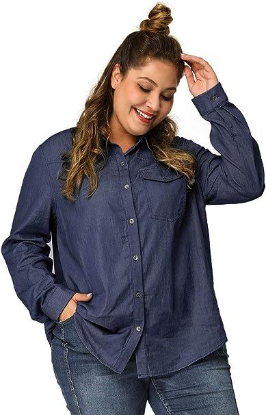 Agnes Orinda Women\'s Plus Size Denim Shirts Long Sleeve Chest Pocket Button  Down Chambray Shirt