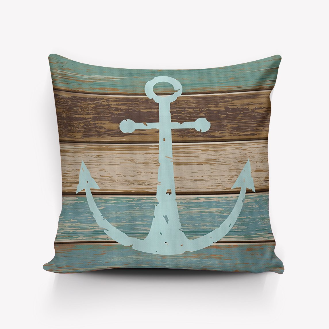 Crystal Emotion Blue Nautical Anchor Rustic Old Barn Wood pillow Case Cushion Cover Home Office Decorative Square 24x24inch