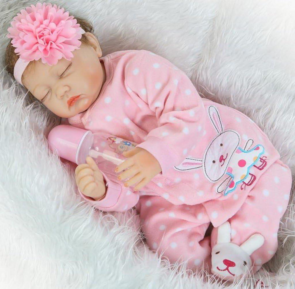 "22/"" Reborn Muñecas Bebé Suave Silicona vinilo Realista Reborn Girl Doll Gift Toy"
