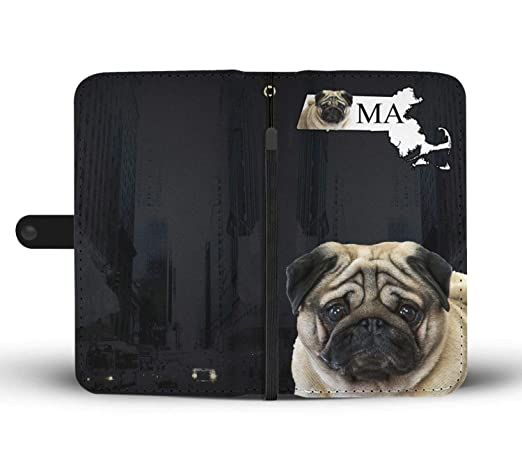 Amazon.com : Pug Dog Printed Leather Wallet Case for Samsung, iPhone, LG, Goole Pixel, Huawei, HTC, Motorola, Xiaomi- Dog Printed Magnetic flip Cover with ...