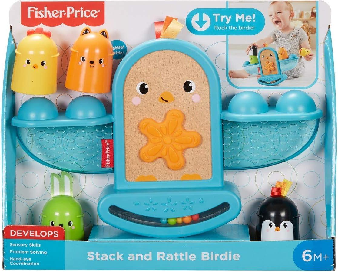 GJW26 Fisher-Price Mon oiseau /à bascule 6 mois et plus jouet b/éb/é /à empiler avec textures et billes hochet