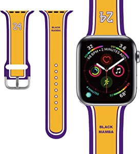 PlusYard Compatible with Apple Watch Band 38mm/40mm/42mm/44mm Basketball Fan Memorabilia Gifts NBA Legends Kobe Bryant for Men/youngboy/Kids Compatible iWatch Series 6 & SE Series 5,4,3,2,1