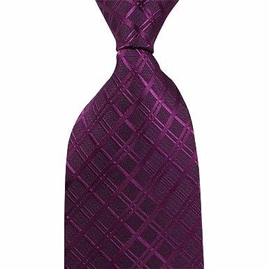 HXCMAN 8cm morado borgoña cuadros corbata Diseño clásico 100% seda ...