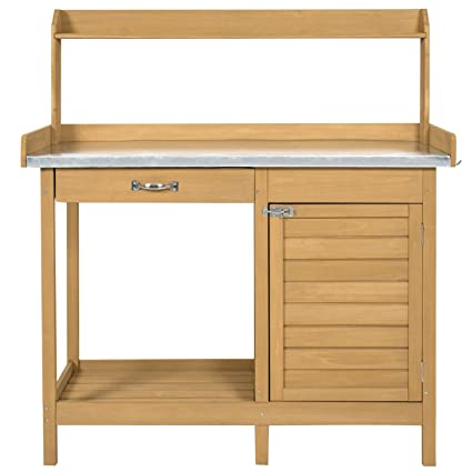 Amazon.com: Potting Bench Metal Tabletop with Cabinet Work ...