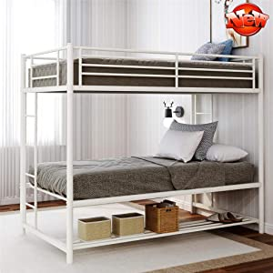 LEEXCCOS Stronger & More Durable Twin Over Twin Bunk Beds with Storage, Heavy Duty Thicken Metal Twin Bed Frame with 2 Ladders & Safety Guard Rails & Bottom Storage Rack for Kids Teens Adults (White)