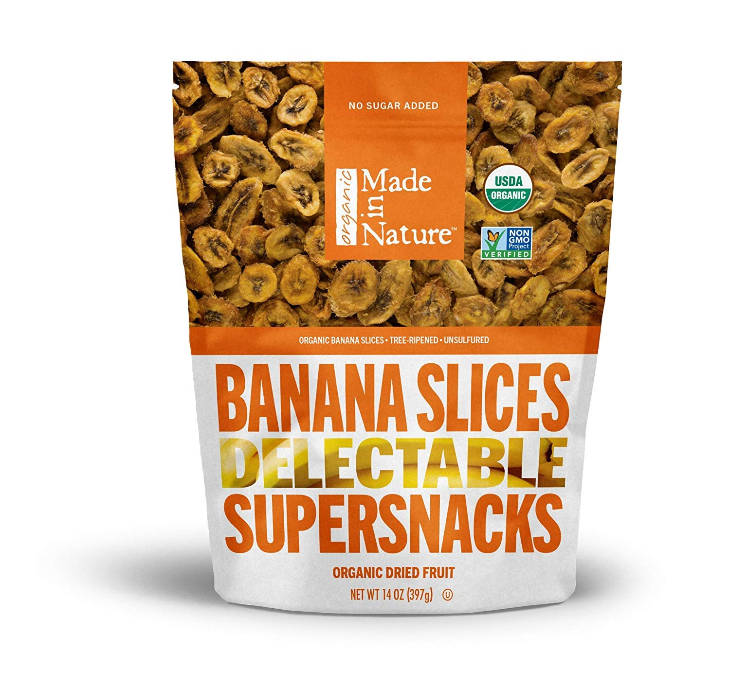 Made in Nature Organic Dried Fruit, Chewy Banana Slices, 14oz Bag – Non-GMO, Unsulfured Vegan Snack