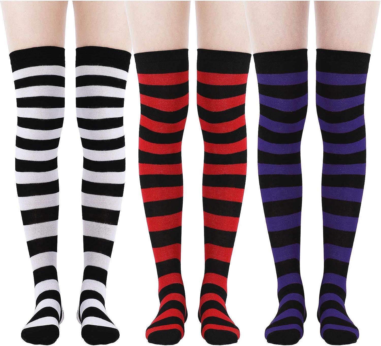 Daily Wear 3 Pairs Women Knee Socks Soft Cotton Socks Long Tube Socks for Christmas Favor