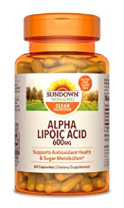 Sundown Super Alpha Lipoic Acid 600 mg, 60 Capsules (Packaging May Vary)