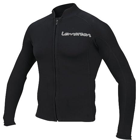 755c83a875f Amazon.com  Lemorecn Men s 2mm Wetsuits Jacket Long Sleeve Neoprene ...
