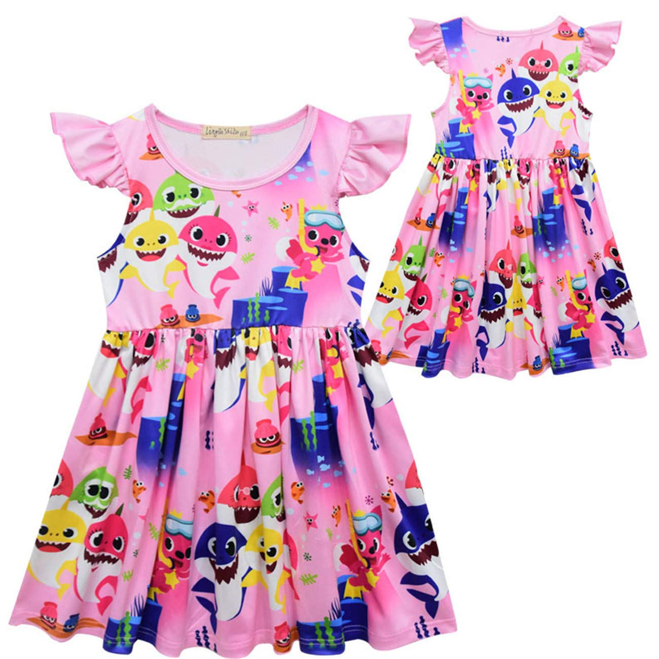AISCOOL Girls Cotton Ruffled Sleeve Dresses Kids Shark Clothes Outfits 3-7 Years