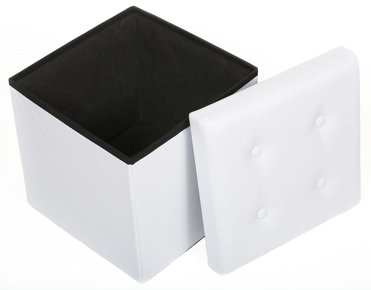 Fresh Home Elements Ottoman, Tufted 15 Storage Cube and Foot Rest, White Faux Leather