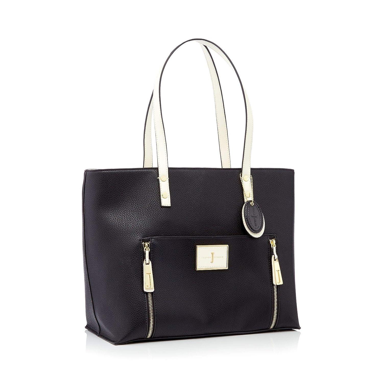 588ff148790c J By Jasper Conran Black Faux Leather Double Zip Shopper Bag  J by Jasper  Conran  Amazon.co.uk  Clothing