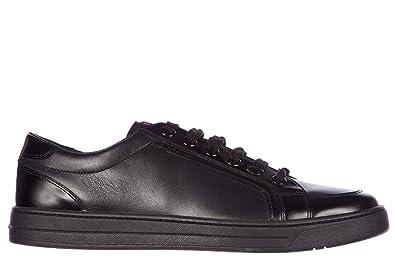 d6b25b668fed Prada Herrenschuhe Herren Leder Schuhe Sneakers plume spazzola Schwarz EU  44 4E2722 OK6 F0002