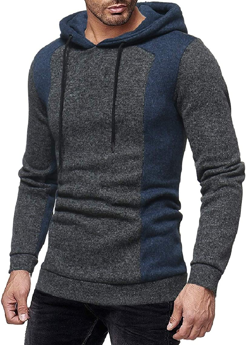 GodeyesMen Long-Sleeve Hooded Contrast Color Casual Fall Winter Sweatshirts