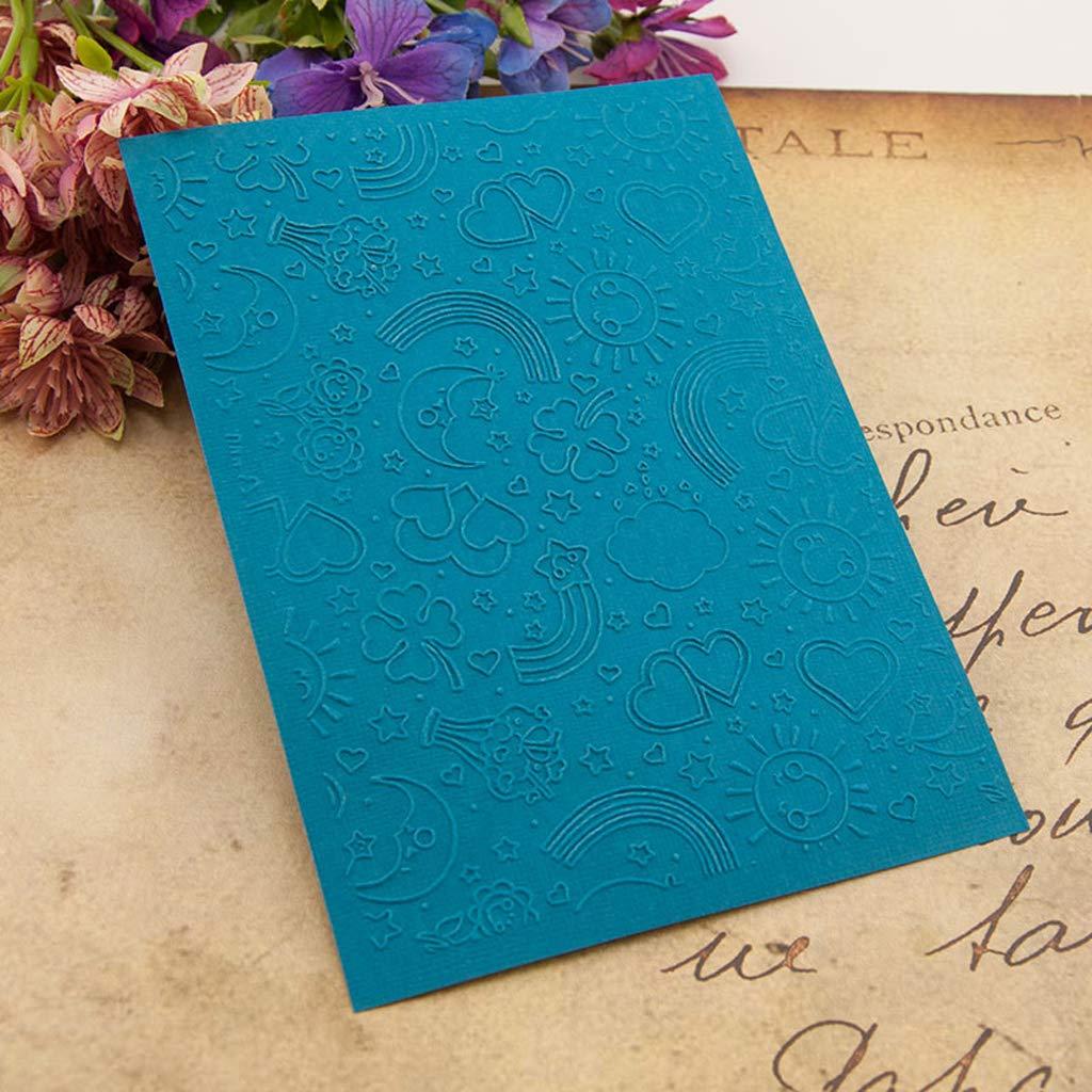 Youliy Plastic Embossing Folder Template DIY Scrapbook Photo Album Card Making Decoration Crafts Rainbow Sun Arts & Crafts Embossers