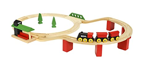 Brio World 33424 Classic Deluxe Railway Set 25 Piece Train Toy With Accessories And Wooden Tracks For Kids Ages 2 And Up