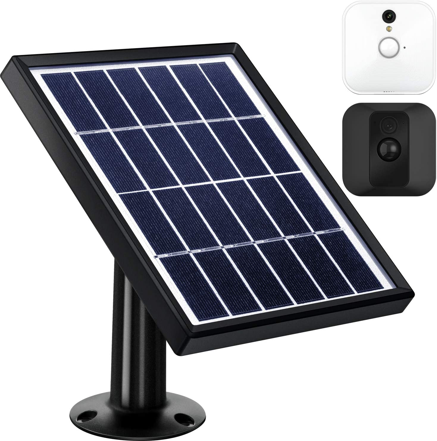 Solar Panel Compatible with Blink XT XT2 Outdoor Indoor Security Camera and an Adjustable Mount, 12 Feet 3.6 m Cable, Supply Power Continuously by Solar Panel Black