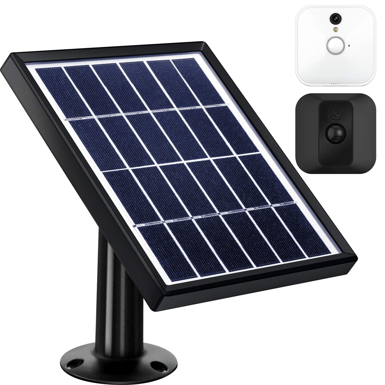 Blulu Solar Panel Compatible with Blink XT Indoor/Outdoor Security Camera with an Adjustable Mount, 12 Feet/ 3.6 m Cable, Supply Power Continuously with Solar Panel (Black)