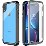 Pakoyi iPhone XR Case, Full Body Bumper Case with Built-in Screen Protector Slim Clear Shock-Absorbing Dustproof Lightweight Cover Case for iPhone XR (6.1 inch)- (Black+Grey/Clear)