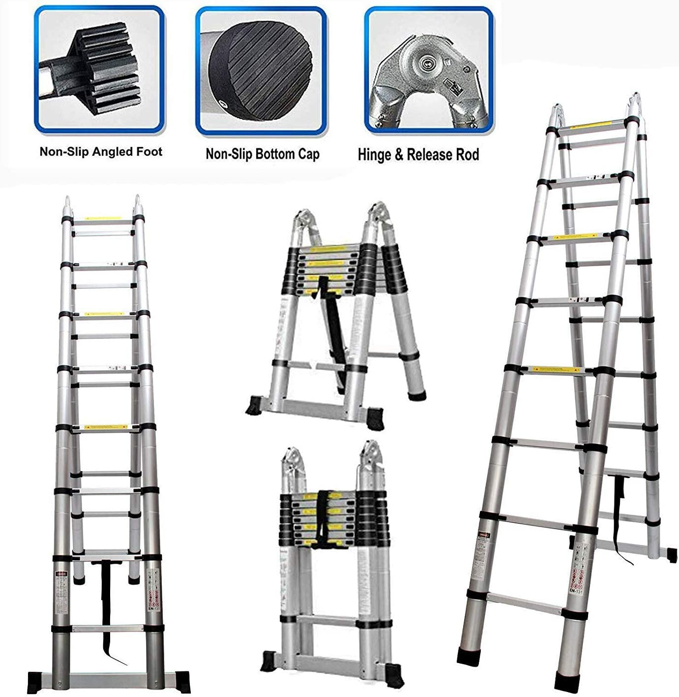 5M / escalera telescópica 16.5FT con las bisagras del Segura plegable de extensión de aluminio de 8 x 2 Escalera plegable un marco plegable portátil for el hogar Escalera Loft interior al