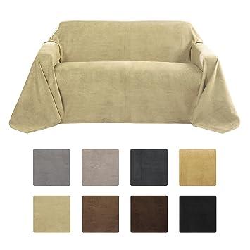Beautissu Romantica Decke 210x280cm In Wildleder Optik Als Sofa Überwurf  Tagesdecke Plaid In Natur