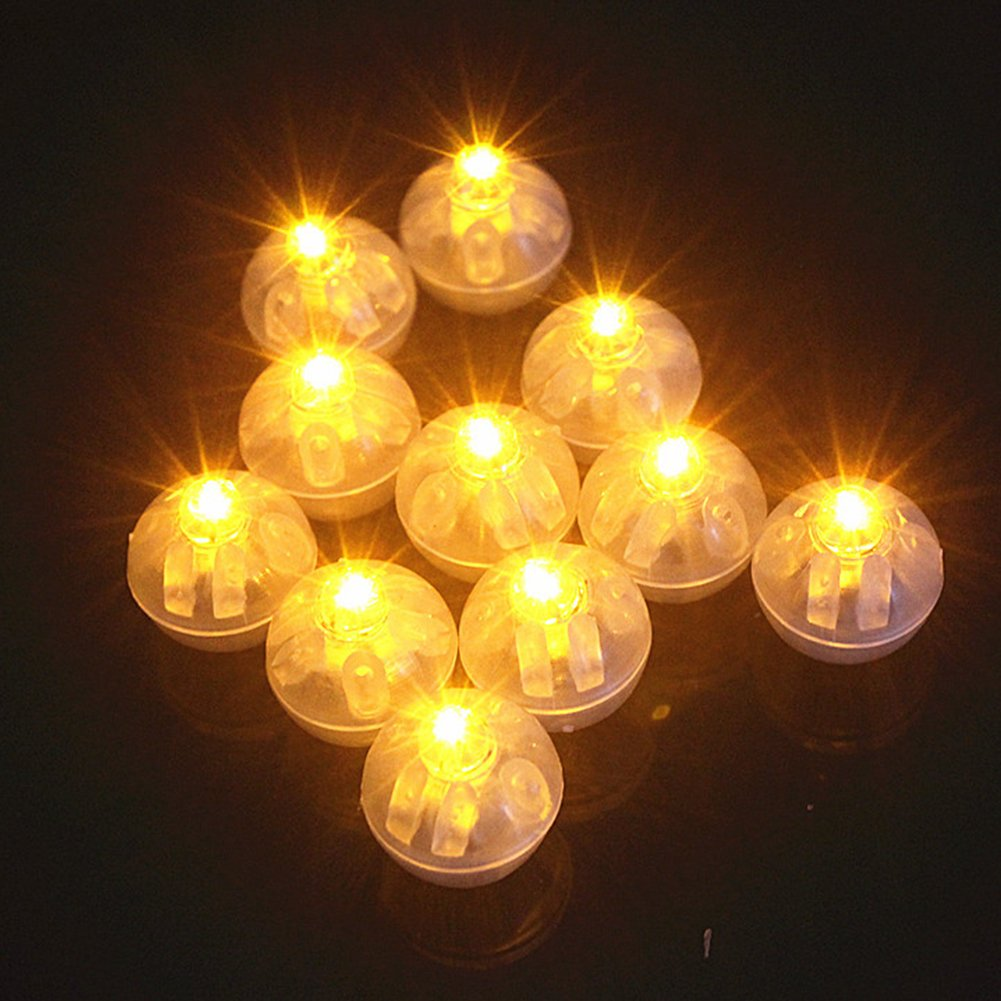GEZICHTA 100pcs Led Round Balloon Lights Flash Ball Lamps, Round Party Balloon Lights Non-Blinking Lights for Paper Lanterns Balloons , Christmas Wedding Party Decoration(Red)