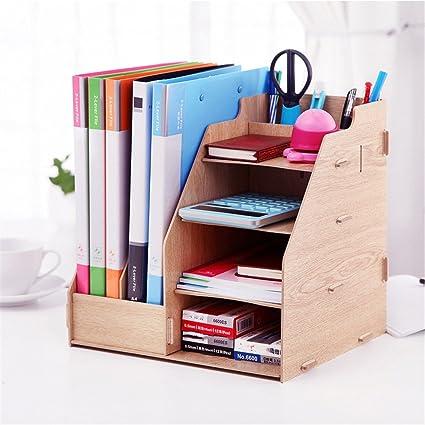 DIY organizador de escritorio de madera 4 tabla + 2 revista libros ...