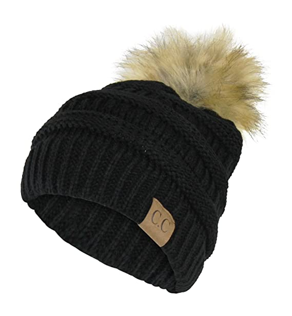 93887b48f8d Black Chunky Cable Knit Beanie Hat w  Faux Fur Pom Pom – Winter Skull Cap
