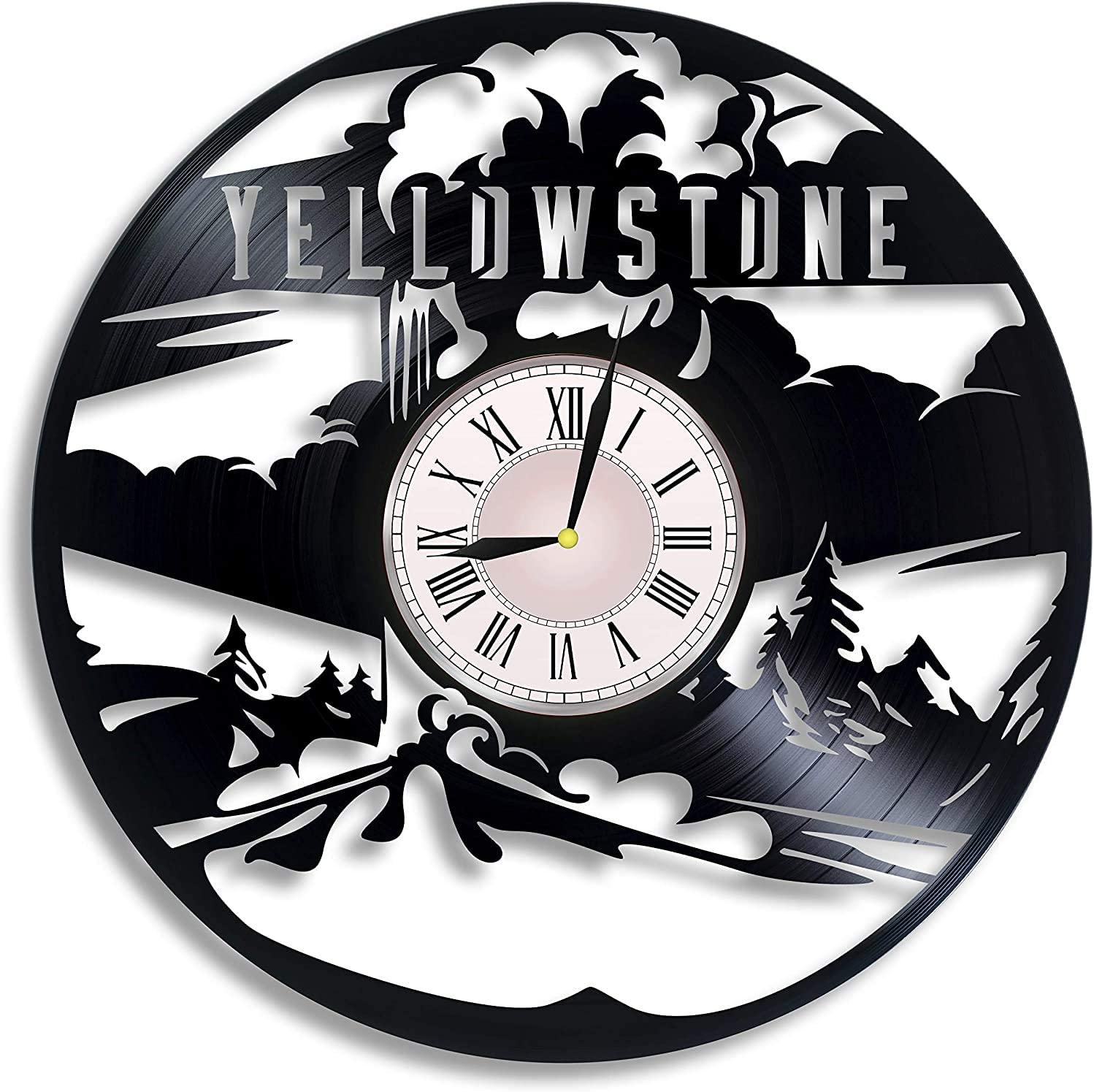 Vinyl Record Wall Clock Compatible with Yellowstone Home Decor - Bedroom Wall Clock Yellowstone Wall Art Decoration Gifts for Adults